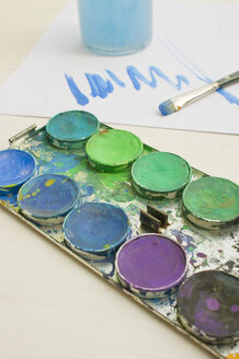 Watercolours with paintbrush, close up - LVF000109