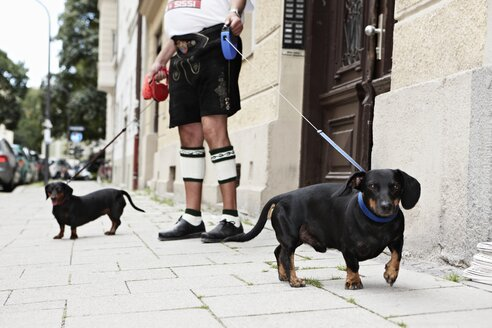 Germany, Bavaria, Munich, Senior man walking with dogs - ED000030