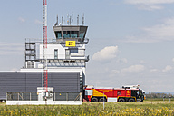 Germany, Laupheim, View of Fire truck and Aerodrome Control Tower - HA000161