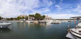 Spain, Mallorca, View of boats at Portopetro - AM000345