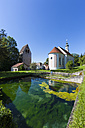 Germany, Bavaria, Wessobrunn, View of Monastery church with gatehouse - AM000534