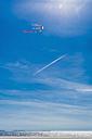 Denmark, Romo, Kite flying against sky at North Sea - MJF000261