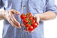 Mature man holding bunch of tomatoes, close up - MAEF006875