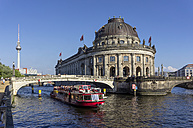 Germany, Berlin, View of tour boat at River Spree and Bode museum - JHE000015