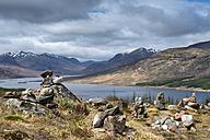 United kingdom, Scotland, Rock piles with Loch Loyne - EL000214