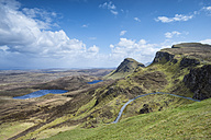 United Kingdom, Scotland, View of road through mountains at Quiraing - ELF000228