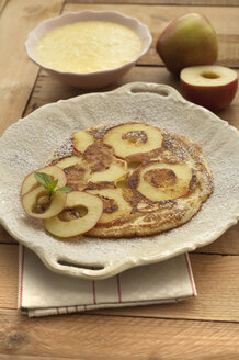Apple pancake with apple sauce , close up - OD000181