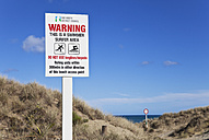 New Zealand, View of Warning and Information Sign at Ninety Mile Beach - GW002327