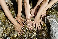 France, Boys and girls hands in water - LBF000161