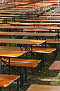 Germany, Baden Wuerttemberg, Laupheim, Empty benches and tables in beer garden - HAF000164