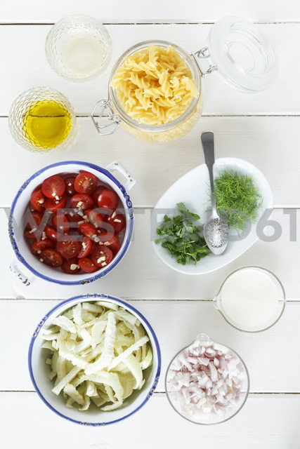 Varieties of ingredients on wooden table, close up - EVGF000143