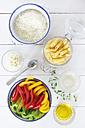 Varieties of ingredients on wooden table, close up - EVGF000152