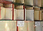 Turkey, Istanbul, Open Korans at Islamic Bookstore - LH000218
