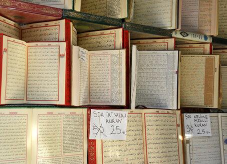 Turkey, Istanbul, Open Korans at Islamic Bookstore - LH000218