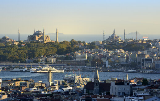 Turkey, Istanbul, View of Golden Horn with Hagia Sophia and Sultan Ahmed Mosque - LH000222