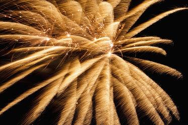 Germany, North Rhine Westphalia, Duesseldorf, Fireworks exploding in sky - KJF000239