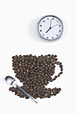 Coffee beans in shape of coffee cup with clock, spoon, on white background, coffee break - ASF005076