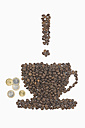 Coffee beans in shape of coffee cup with tip, euro coins, exclamation mark, on white background - ASF005073