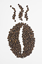 Coffee beans in shape of coffee bean, aroma symbol, on white background - ASF005069