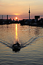 Germany, Berlin, Boat on River Spree at sunset - MIZ000366