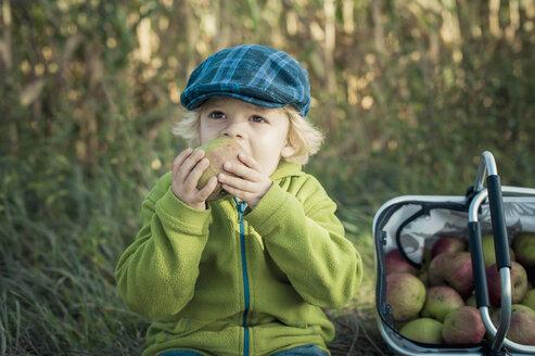 Germany, Saxony, Boy eating apple, looking away - MJF000318