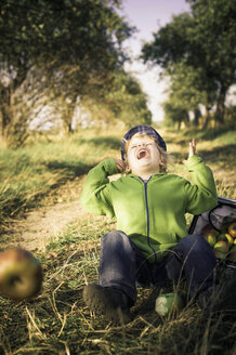Germany, Saxony, Boy sitting with basket full of apples, laughing - MJF000315