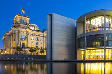 Germany, Berlin, View of Reichstag and Paul Loebe House at dusk - NKF000016
