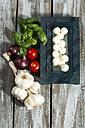 Mozzarella, tomatoes, garlic, basil and onions on table - MAEF007217