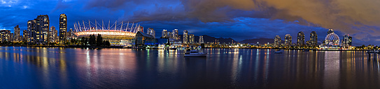 Canada, Skyline of Vancouver at night with BC Place Stadium and TELUS World of Science - FOF005177