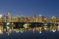 Canada, Vancouver, Marina with ships and skyline at night - FOF005215