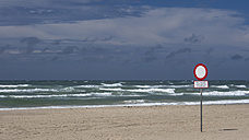 Denmark, View of sign board at beach - HHEF000048