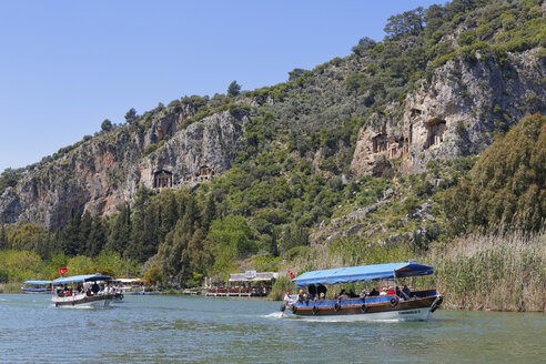 Turkey, Excursion boats on Dalyan River and Lycian Rock Tombs of Kaunos - SIE004301