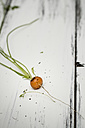 Fresh baby carrot with stems and leaves on wooden board - SBDF000175