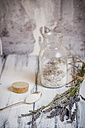 Glass of sugar with dried lavender flowers - SBD000195
