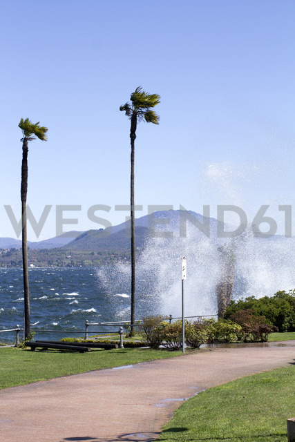 Italy, Stresa, Lago Maggiore, high waves at the lakeside - DRF000157