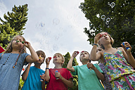 Children blowing soap bubbles - NHF001419