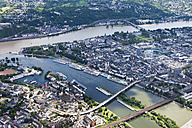 Germany, Rhineland-Palatinate, confluence of River Rhine and Moselle at Koblenz, aerial photo - CSF019953