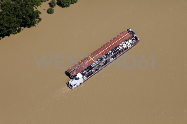 Germany, Rhineland-Palatinate, Car carrier on River Rhine at high water, aerial photo - CS019962