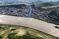 Germany, Rhineland-Palatinate, confluence of River Rhine and Nahe at Bingen, aerial photo - CS019965