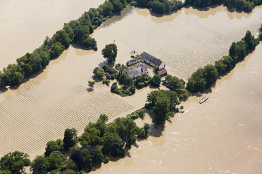 Germany, Rhineland-Palatinate, Flooding of River Rhine Island Koenigskling Aue, aerial photo - CS019981