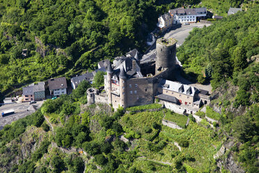 Germany, Rhineland-Palatinate, Sankt Goarshausen, View of Katz Castle, aerial photo - CSF019987