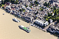 Germany, Rhineland-Palatinate, Bad Breisig, Tourboats on River Rhine at high water, aerial photo - CSF020001