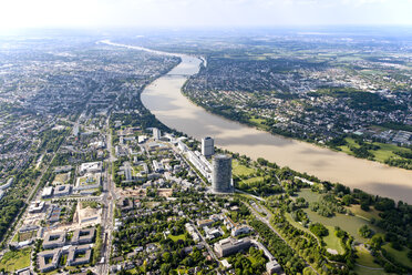 Germany, North Rhine-Westphalia, Bonn, View of city with Posttower at River Rhine, aerial photo - CSF020004
