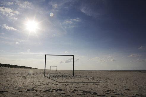 Germany, Lower Saxony, East Frisia, Langeoog, goal at the beach - JATF000350