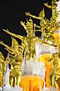 Brasil, Rio de Janeiro, Carnival, Samba school Unidos da Tijuca performing in golden costumes - FLK000006