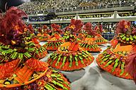 Brasil, Rio de Janeiro, Carnival, Samba school Unidos da Tijuca performing in costumes - FLK000010