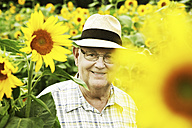 Germany, Cologne, senior with sunflowers - JATF000356