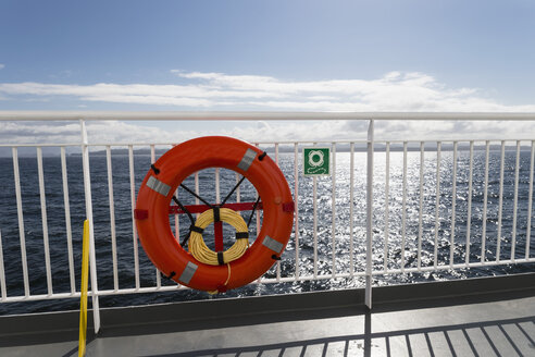 Canada, British, Columbia, Vancouver Island, Inside Passage - Port Hardy, Prince Rupert, lifebelt on ferry - FO005335