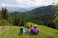 Germany, Bavaria, Allgaeu, hikers resting at the Kappeler Alp - LB000295