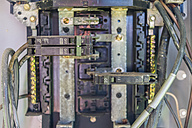 USA, Texas, close up of interior of outdoor electrical breaker box - ABA001010